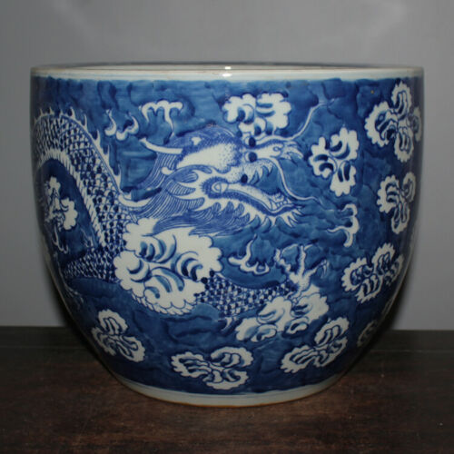 "10.6"" Chinese Yuan dynasty Blue White Dragon and Flowers Pattern Porcelain Jar"