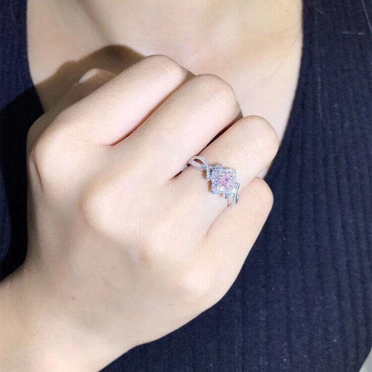 Elegant 925 Silver Jewelry Pink Sapphire Women Wedding Jewelry Gift Size 6-10 2