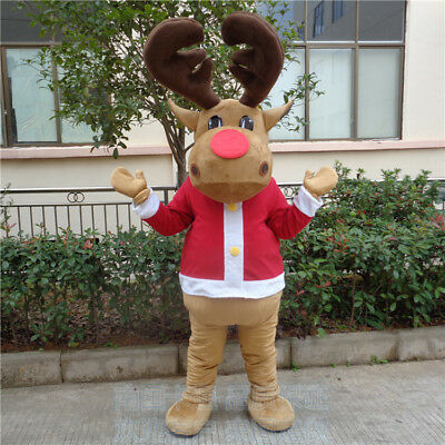 Carnival Happy Deer Mascot Costume Suits Cartoon Dress Adults Size Birthday Game - Adult Carnival Games