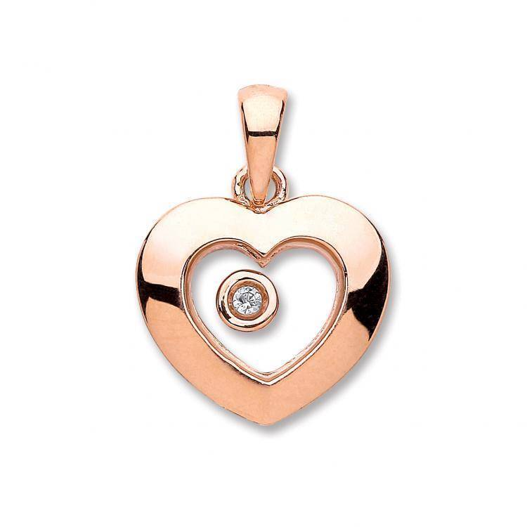 9ct Rose Gold Heart Pendant Set With A Single Floating Real Diamond