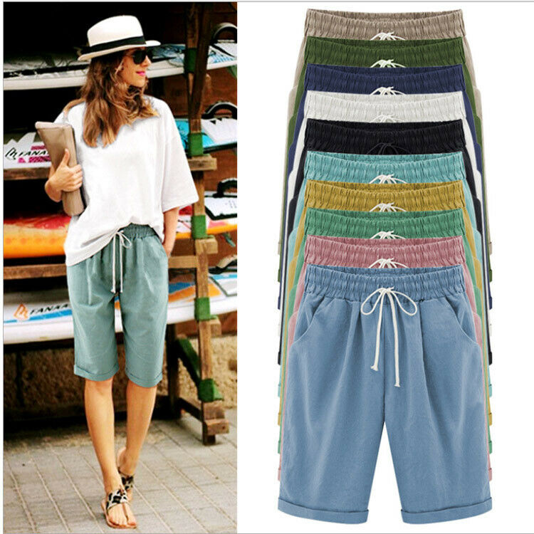 Women Cotton Linen Baggy Shorts Ladies Summer Beach Casual Knee Length Pants