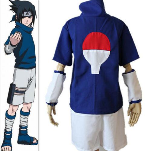 Naruto Uchiha Sasuke Complete Costume Set + Headband for Halloween Cosplay Small