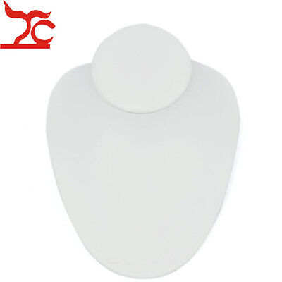 Pendant Necklace Jewelry Display Stand Holder Mannequin Bust White Faux Leather