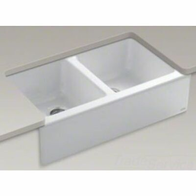 KOHLER K-6534-4U-0 CI HAWTHORNE APRON-FRONT TILE-IN KIT SINK 4HOLE WHITE