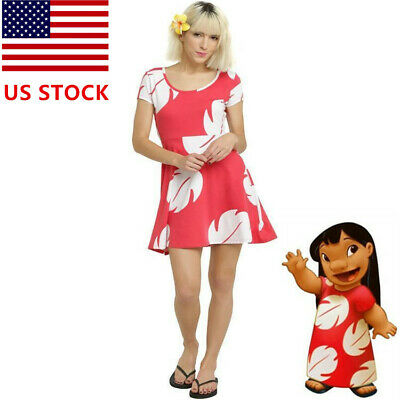 Costume Knee Length Dress - Lilo and Stitch Cosplay Dress Costume Womens Girls Skater Skirt Lilo&Stitch US