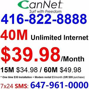 LOWEST price -  40M Unlimited internet starting $40/month ,or 60M for $50/month, No contract, $30 installation
