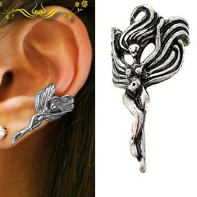 Enchantingly Beautiful Goddess Fairy Angel Gothic Punk Rock Silver Ear Cuff Wrap ()