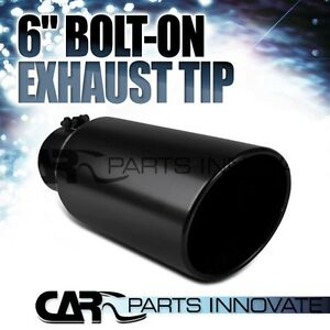 "Black Rolled Edge Exhaust Tip (4"" Inlet, 6"" Outlet, 15"" Long)"