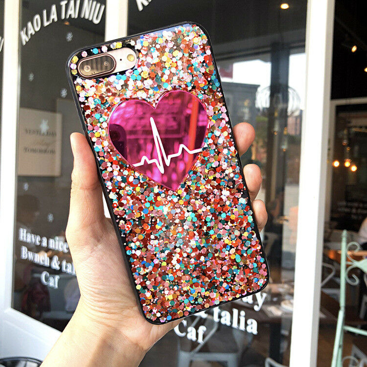 Bling Glitter Multi-Colored Pink Heart Pulse Cute Protective Case For iPhone