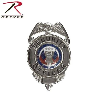 1913 Silver Deluxe Security Officer Shield Badge With Flags Rothco 1913 1913-cs