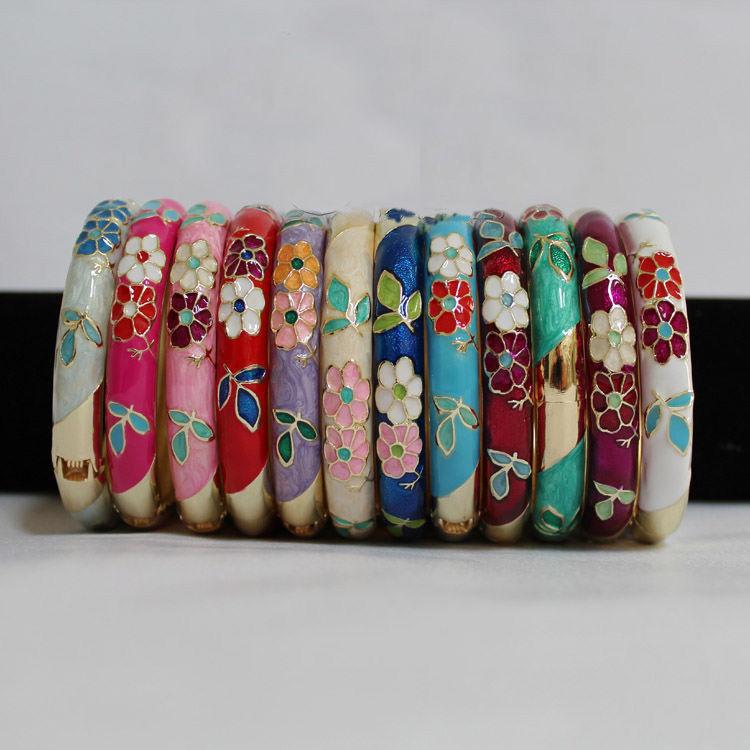 Wholesale6 Pcs Stunning Chinese Handmade Cloisonne Enamel Cuff Bracelet Bangle