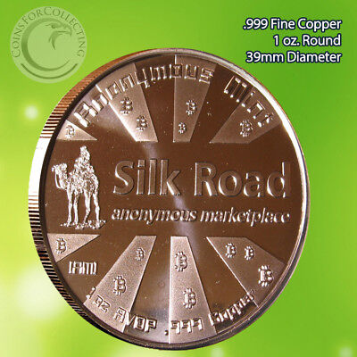 Bitcoin  Silk Road  Copper Round 1 Oz  999 Very Limited And Rare