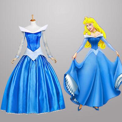 Disney Dornröschen Kostüme (Dornröschen Sleeping Beauty Aurora Disney Cosplay Kostüm Abend-kleid lang long 2)