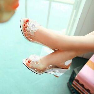 New Women's  Flower Rhinestone Wedge High Heels Sandals Slingback Shoes AU Sizes