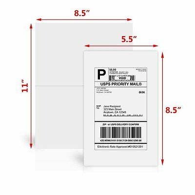 200 Half Sheet Shipping Labels 8 5X5 5 Self Adhesive For Paypal Ebay Usps