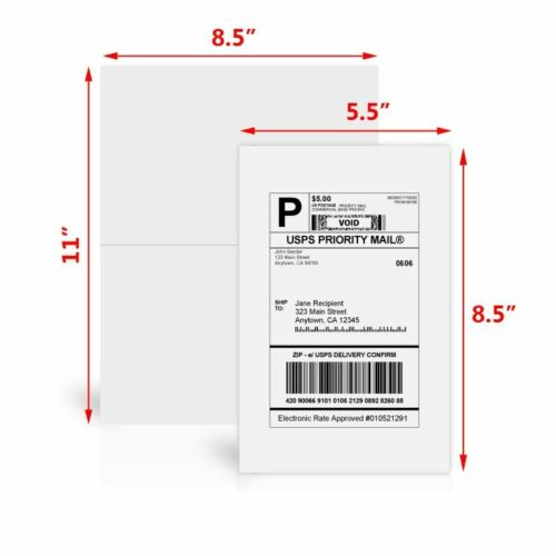 800 Half Sheet 8.5x5.5 Shipping Labels Self Adhesive For Paypal USPS