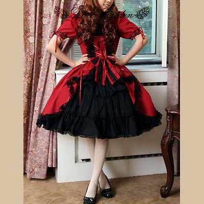 VINTAGE Abend-Kleid Lolita Gothic Goth Uniform RETRO Schwarz Rot Lace Maid Red