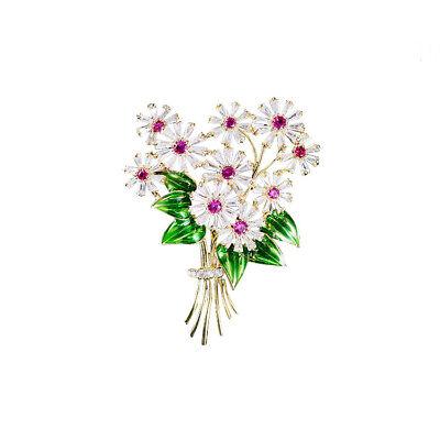 Crystal Zirconia Brooch (Crystal Cubic Zirconia Flower Brooch Broach Pin Women Jewelry Accessories XR0401 )