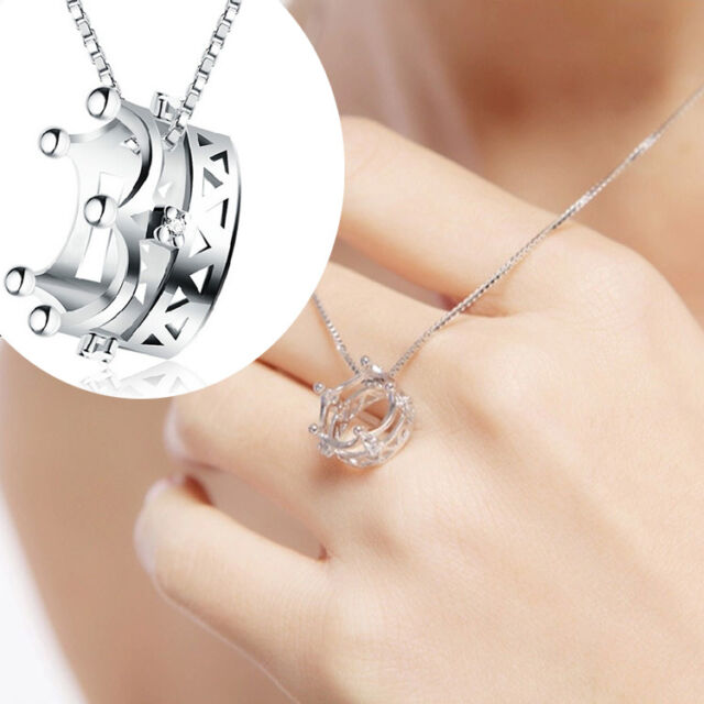 Fashion 925 Sterling Silver Plated Imperial Crown Princess Pendant Necklace Gift
