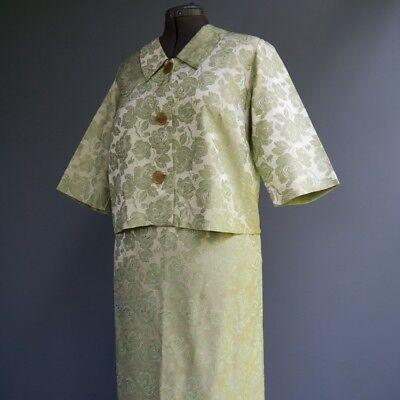 (VTG 50s 60s Mint Green Floral Rose Brocade 2p Suit Crop Jacket Pencil Skirt M L)
