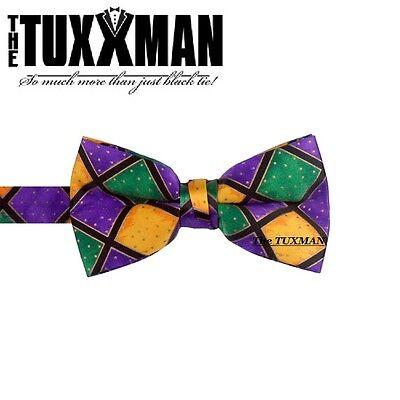 Mardi Gras Bow (Mardi Gras Mens Bowtie Purple Green Gold Tuxedo Bow Tie Masquerade TUXXMAN New )