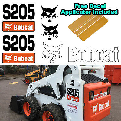Bobcat S205 Skid Steer Set Vinyl Decal Sticker 5 PC SET + FREE DECAL APPLICATOR, used for sale  Shipping to Canada