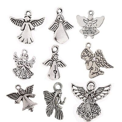 - 10/30pcs Angel Wing Fairy Tale Beads Charms Tibetan Silver Pendant DIY Bracelet