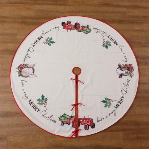 """New Country Farmhouse Christmas Red Tractor Pig Cow Christmas Tree Skirt 60"""""""