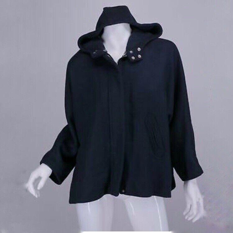 Zara Kids Girls 11-12 Blue Hooded Jacket Coat Front Zip Pockets Dolman Sleeve