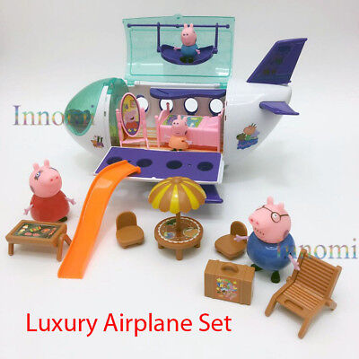 Peppa Pig Family Luxury Airplane Jet Playset Toy Set With 4 Family Figures