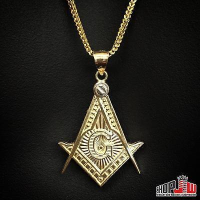 Mens 10k Gold Masonic Free Mason Square and Compass Design Pendant Symbol Logo