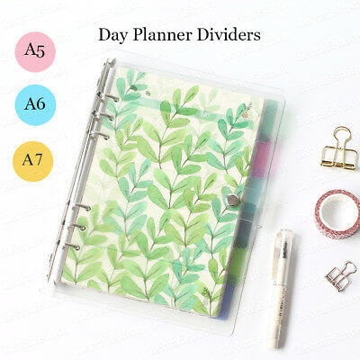 6 Pcs Set Floral Design Personal Planner Dividers Filiofax Binder Tabs A5a6a7