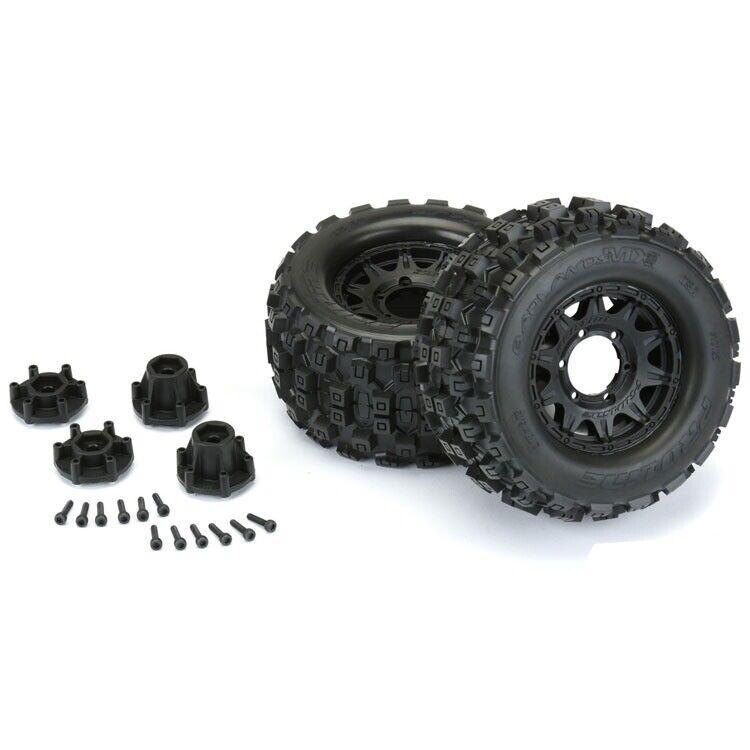 "Pro-Line Badlands MX28 2.8"" Tires on Raid Front Rear Adj. Offset Wheels 12mm Hex"