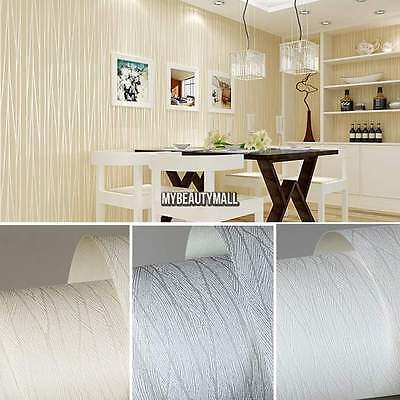 (10M Simple Modern Embossed Textured Lines Wallpaper Roll Striped Wall Sticker)