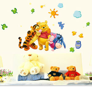Winnie The Pooh Wall Stickers Animal Jungle Zoo Baby Kids Room Nursery Decal Art