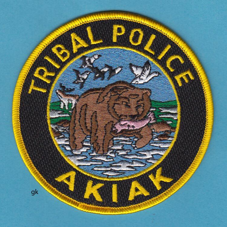 AKIAK ALASKA TRIBAL POLICE SHOULDER PATCH  BEAR SALMON