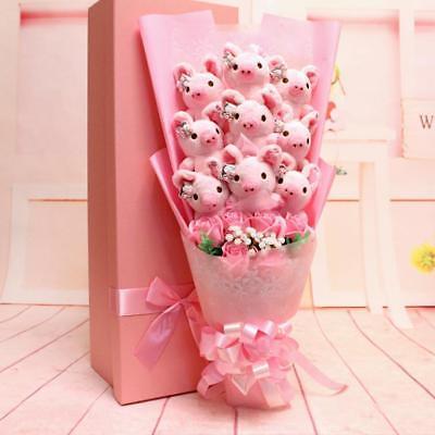 Pig Pink 9PCS Plush Toy Doll Flower  Birthday Creative Box Valentine Fancy Gift](Pig Valentine Box)