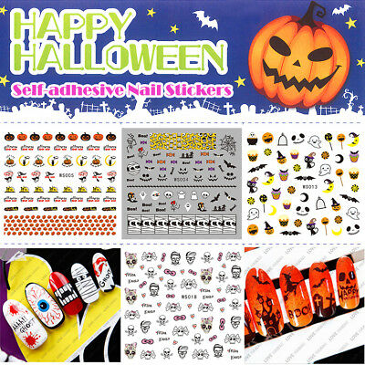 Halloween ! Nail Art Stickers Self-adhesive Cute Pumpkin Mummy Spider Skull - Pumpkin Spiders