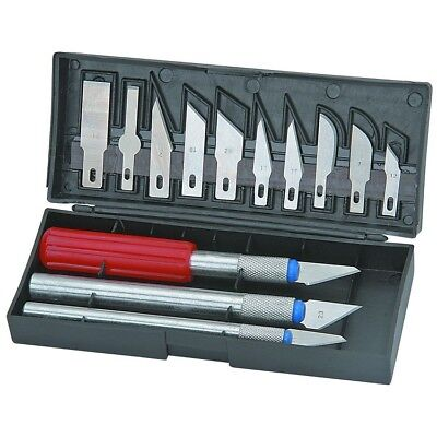 16pc Hobby Razor Knife Set w/Blades w/Case (Exacto Blades fits knife) Stencil