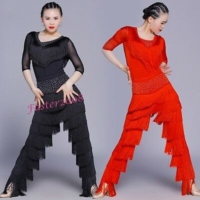 Sexy Adult Tassels Dance Pants Tops Latin Rumba Samba Outfits Ballroom Dancewear - Ballroom Dance Outfit