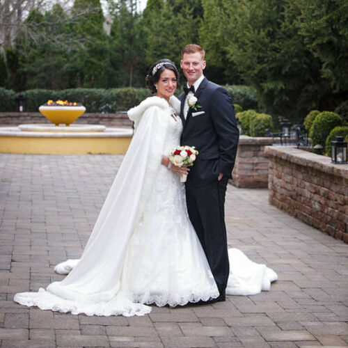 Winter Long Bridal Faux Fur Cloak Wedding Hooded Warm Cape White Ivory Jacket