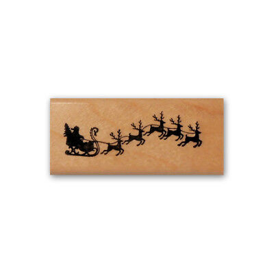 Santa Sleigh & Reindeer silhouette mounted rubber stamp, Christmas holiday (Sleigh Silhouette)