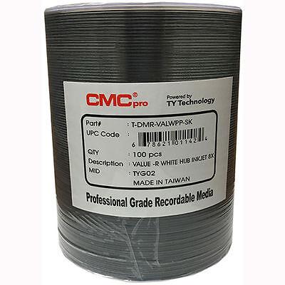 100 JVC Taiyo Yuden CMC Pro 8X White Inkjet Hub Printable Value DVD-R Disc