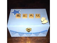 Personalised baby keepsake boxes