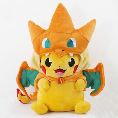 "9"" Pokemon Pikachu With Charizard Hat Pocket Monster Plush Toy Stuffed Doll Gift"