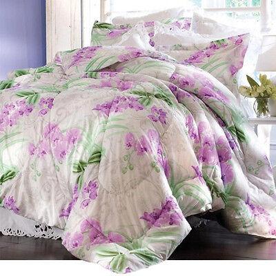 3PC FULL/QUEEN SZ Purple Floral COMFORTER Reversible QUILT &