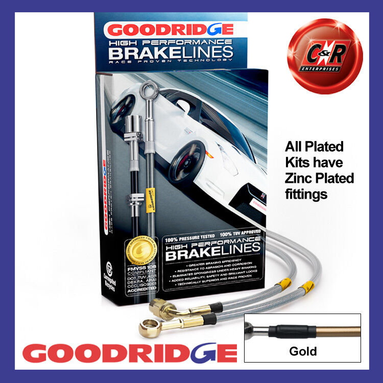 Lexus IS250/IS220d 2007 Goodridge Zinc Plated Gold Brake Hoses SLX0250-4P-GD