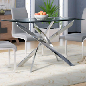 Glass top dining table diner table silver legs modern