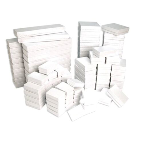 Glossy White Cotton Filled Gift Box Jewelry Craft Collectibles Packaging Boxes