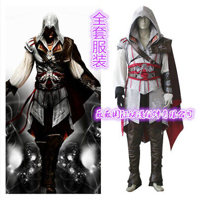 Assassin's Creed 3 Ezio Auditore White Outfit Cosplay Costume Halloween Suit Set](Halloween Costumes Assassin's Creed 3)